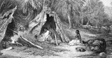 Native_Encampment_by_Skinner_Prout,_from_Australia_(1876,_vol_II)